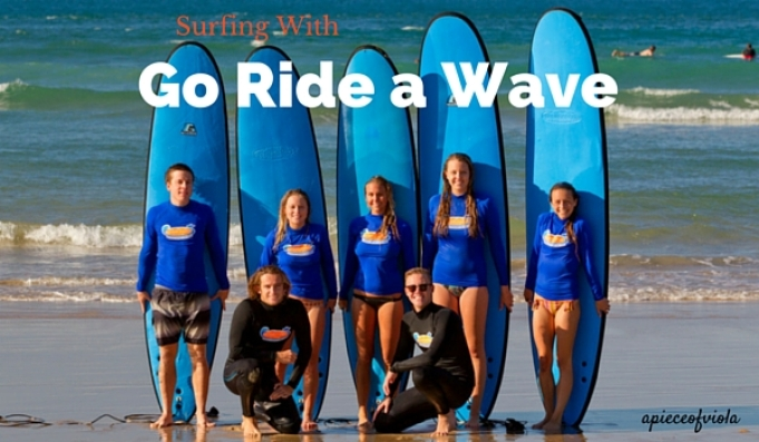surfing with go ride a wave